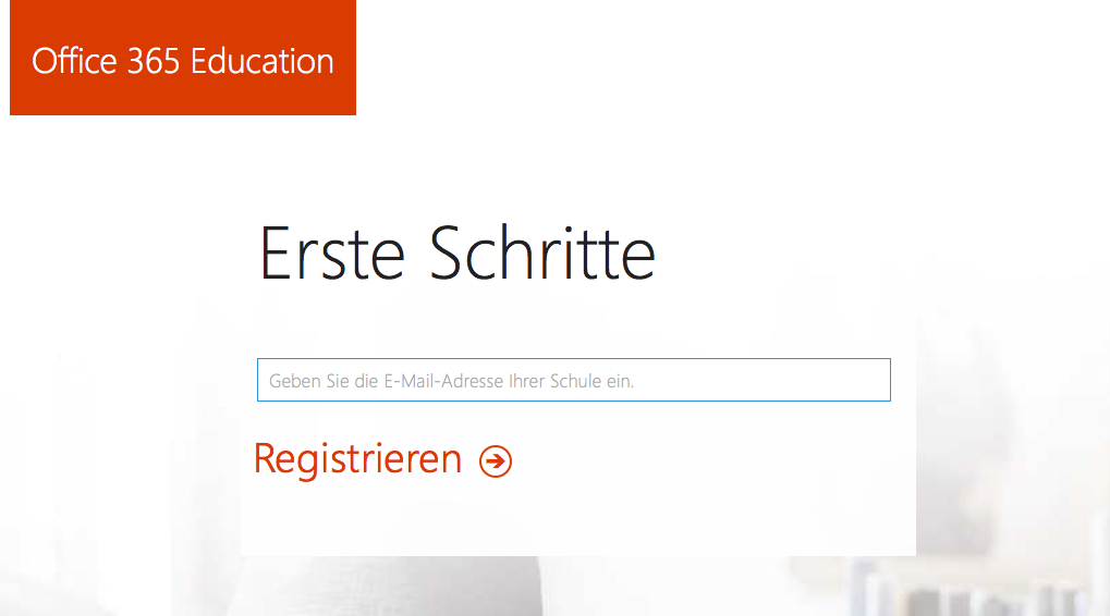 Registrierungsformular Office 365