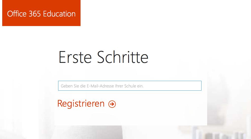 Registrierungsformular Office 365