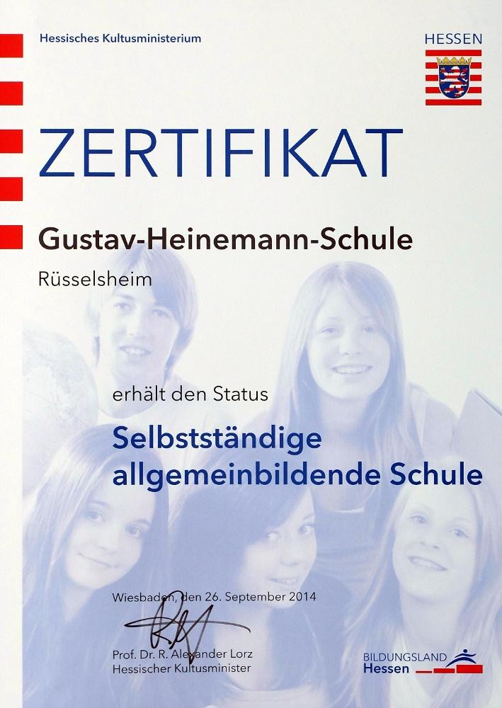 Zertifikat Selbstständige allgemeinbildend Schule